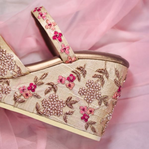 Embroidered High Heel Wedges
